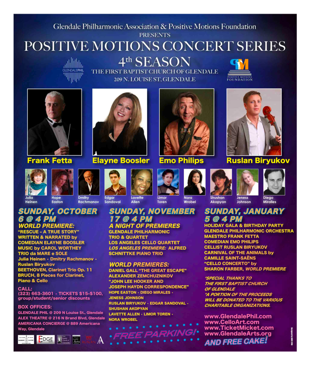 Glendale Philharmonic Positive Motions Series with Elayne Boosler